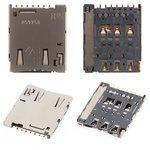 SIM Card Connector compatible with Sony E2303 Xperia M4 Aqua LTE, E2306 Xperia M4 Aqua, E2312 Xperia M4 Aqua Dual, E2333 Xperia M4 Aqua Dual, E2353 Xperia M4 Aqua, E2363 Xperia M4 Aqua Dual