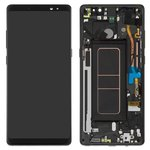 LCD compatible with Samsung N950FGalaxy Note 8, (black, with touchscreen, with frame, Original (PRC), original glass, midnight black)